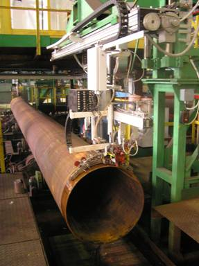 Automated ultrasonic pipes end-areas testing system during their production